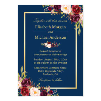 Awesome Rustic Burgundy Floral Gold Navy Blue Wedding Card