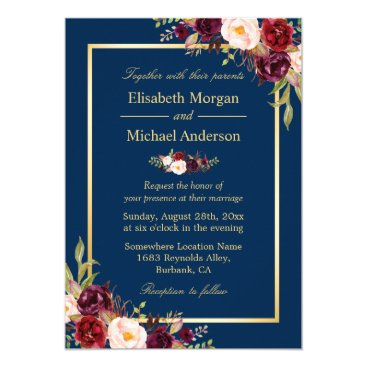 CardHunter Rustic Burgundy Floral Gold Navy Blue Wedding Card