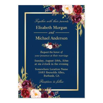 elegant navy blue rose gold floral wedding invites | zazzle, Wedding invitations