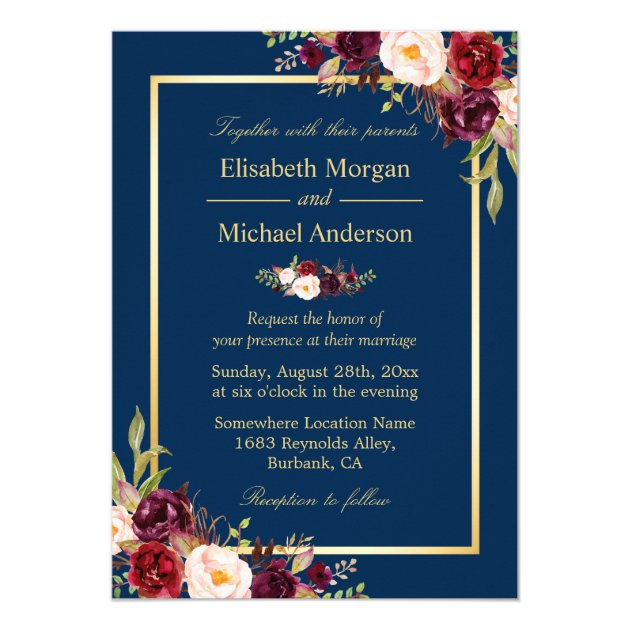 Rustic Burgundy Floral Gold Navy Blue Wedding Card (front side)