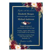 Rustic Burgundy Floral Gold Navy Blue Wedding Invitation at Zazzle