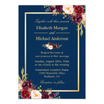 Rustic Burgundy Floral Gold Navy Blue Wedding Invitation