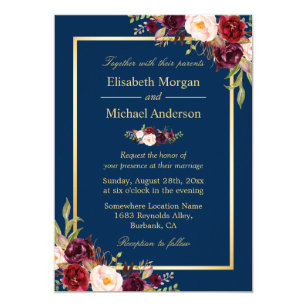 Rustic Burgundy Fl Gold Navy Blue Wedding Invitation
