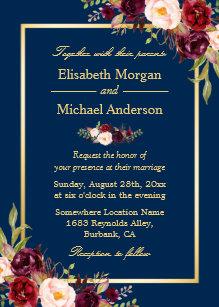 Burgundy And Navy Wedding Invitations Zazzle