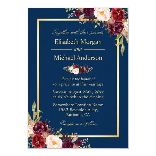 Navy Wedding Invitation: Rustic Burgundy Floral Gold Navy Blue Wedding Invitation