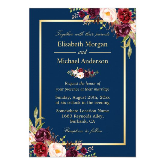 Rustic Burgundy Floral Gold Navy Blue Wedding Invitation