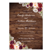 Rustic Burgundy Floral Lace Wedding Invitation