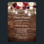 "Rustic Burgundy Floral Lights 16th Sweet Sixteen Invitation<br><div class=""desc"">More Pretty Sweet Sixteen Birthday Invitations in the Little Bayleigh Store!</div>"