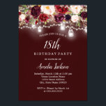 """Rustic Burgundy Floral Lights 18th Birthday Invitation<br><div class=""""desc"""">More Pretty Birthday Invitations in the Little Bayleigh Store!</div>"""
