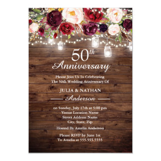 Rustic Burgundy Floral Lights 50th Anniversary Invitation