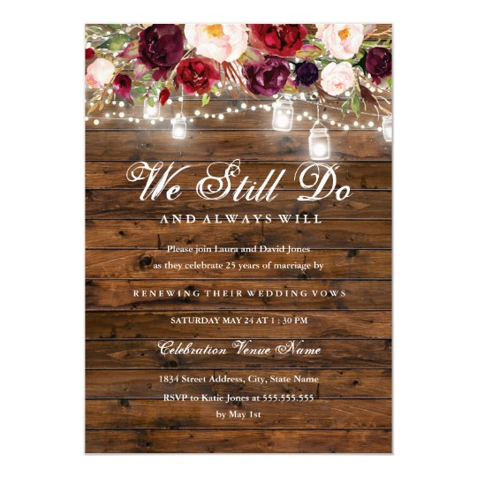 Rustic Burgundy Floral Lights Wedding Vow Renewal Invitation