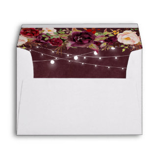 Rustic Burgundy Floral String Lights for 5x7 card Envelope