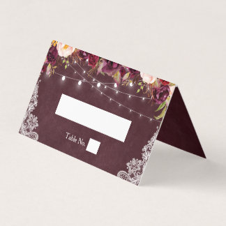 Rustic Burgundy Floral String Lights Lace Wedding Place Card