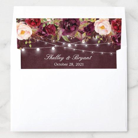 Rustic Burgundy Floral String Lights Wedding Envelope Liner