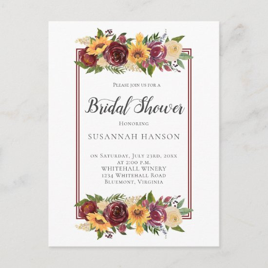 Rustic Burgundy Floral Sunflowers Bridal Shower Postcard