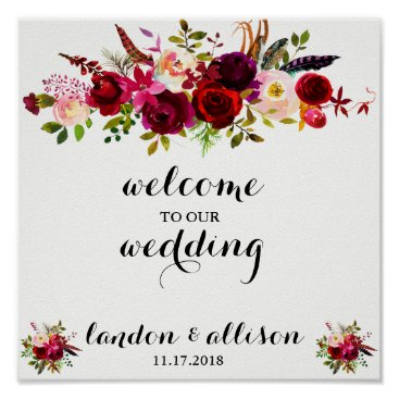 Beach Themed Rustic Burgundy Floral Watercolor Wedding Sign