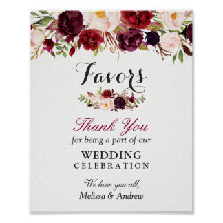 Rustic Burgundy Floral Wedding Favors Thank You Poster