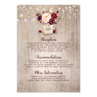 Rustic Burgundy Floral Wedding Information Guest Card