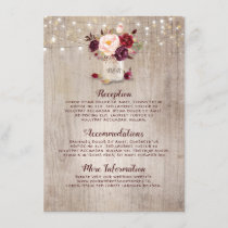Rustic Burgundy Floral Wedding Information Guest Enclosure Card