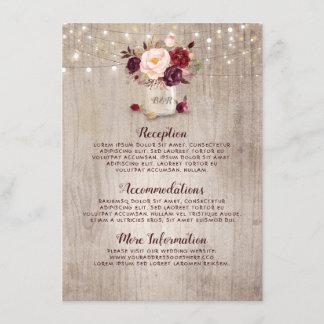 Rustic Burgundy Floral Wedding Information Guest Enclosure Card