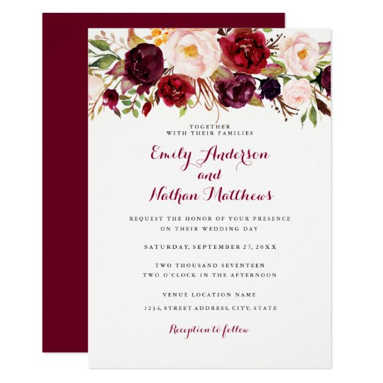 Rustic Burgundy Purple Floral Script Wedding Invitations: Rustic Burgundy Floral Wedding Invitation