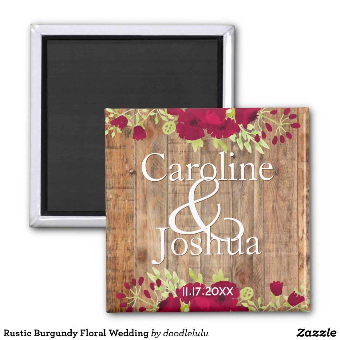 Rustic Burgundy Floral Wedding Magnet