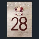 "Rustic Burgundy Floral Wedding Table Number Cards<br><div class=""desc"">Burgundy flowers mason jar rustic Table Number Cards</div>"