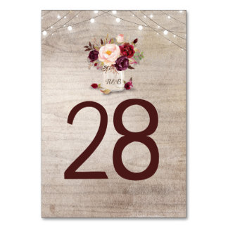 Rustic Burgundy Floral Wedding Table Number Cards