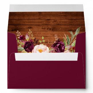 Rustic Burgundy Floral Wood Invitation Envelope