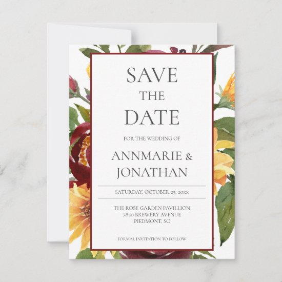 Rustic Burgundy Floral Yellow Sunflowers Save The Date