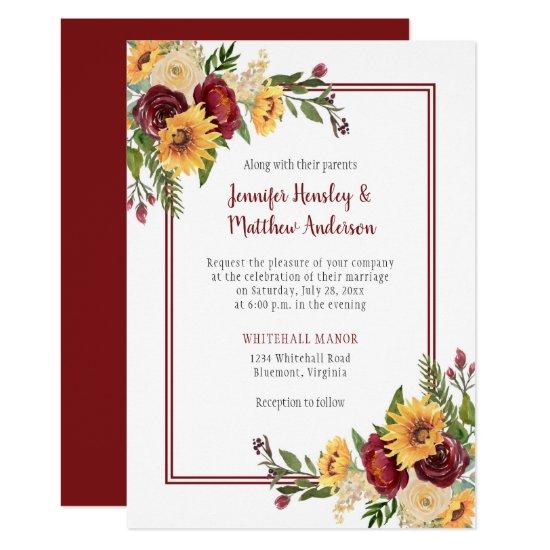 Rustic Burgundy Floral Yellow Sunflowers Wedding Invitation