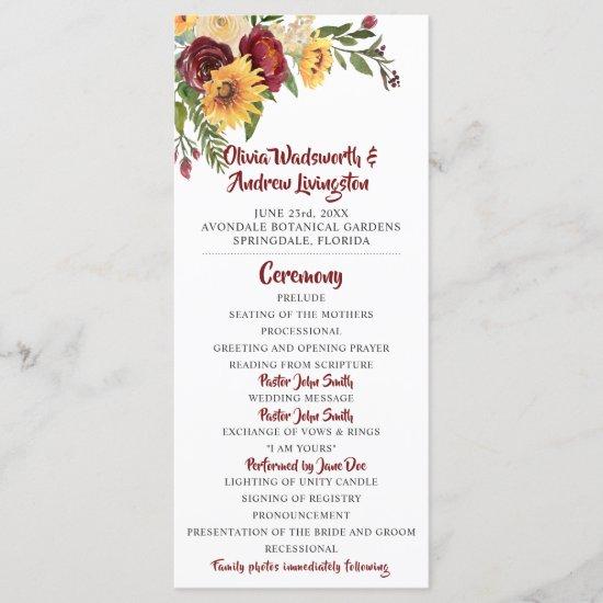 Rustic Burgundy Floral Yellow Sunflowers Wedding Program