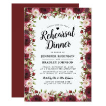 Rustic  Burgundy Flowers Wedding Rehearsal Dinner Invitation