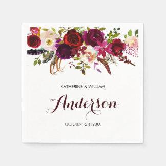 Rustic Burgundy Marsala Chic Floral Wedding Napkin