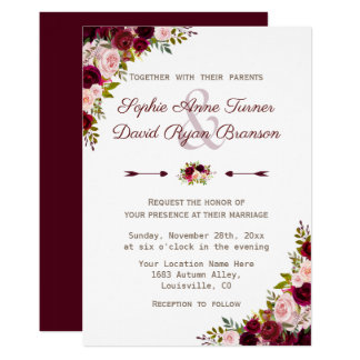 Rustic Burgundy Marsala Floral Wedding Card