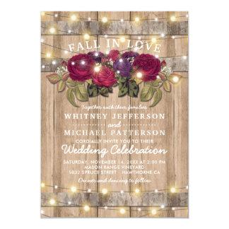 Rustic Burgundy Marsala Red Floral Fall Wedding Invitation