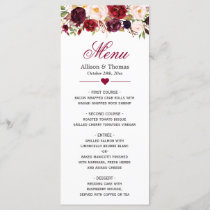 Rustic Burgundy Marsala Red Floral Wedding Menu
