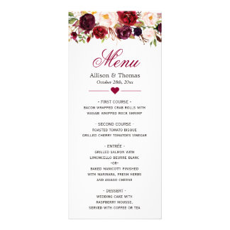 Rustic Burgundy Marsala Red Floral Wedding Menu