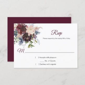Rustic Burgundy Navy Gold Watercolor Floral RSVP
