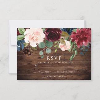 Rustic Burgundy Red & Blush Floral Wedding RSVP Card