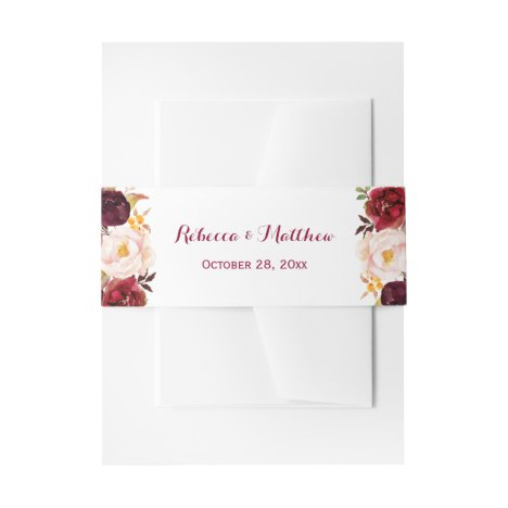 Rustic Burgundy Red Botanical Floral Wedding Invitation Belly Band