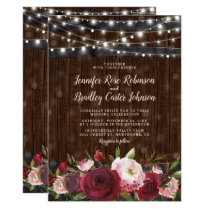 Rustic Burgundy Red Floral Barrel Wedding Invitation