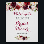 "Rustic Burgundy Red Floral Bridal Shower Sign<br><div class=""desc"">Rustic Burgundy Red Floral Bridal Shower Sign Poster. (1) The default size is 8 x 10 inches, you can change it to a larger size. (2) For further customization, please click the ""customize further"" link and use our design tool to modify this template. (3) If you need help or matching...</div>"
