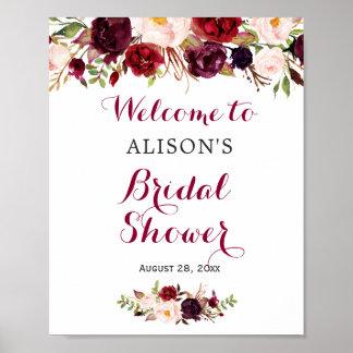 Rustic Burgundy Red Floral Bridal Shower Sign