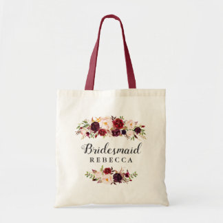Rustic Burgundy Red Floral Bridesmaid Favor Tote Bag