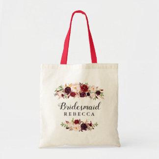 Rustic Burgundy Red Floral Bridesmaid Favor Tote Bag