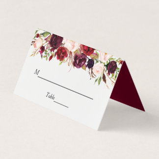 Rustic Burgundy Red Floral Chic Wedding Table Place Card