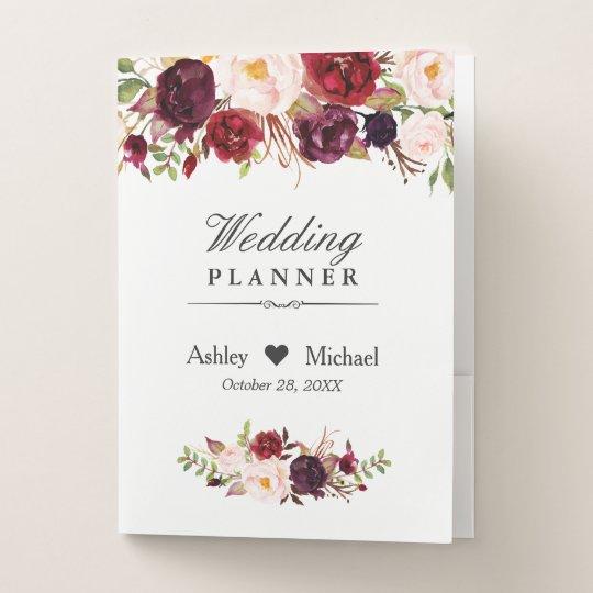 Rustic Burgundy Red Floral Elegant Wedding Planner Pocket Folder