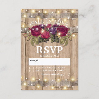 Rustic Burgundy Red Floral Fall Wedding Response