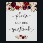 "Rustic Burgundy Red Floral Guestbook Wedding Sign<br><div class=""desc"">================= ABOUT THIS DESIGN ================= Rustic Burgundy Red Floral Guestbook Wedding Sign Poster. (1) The default size is 8 x 10 inches, you can change it to any size. (2) For further customization, please click the &quot;Customize&quot; button and use our design tool to modify this template. (3) If you need...</div>"